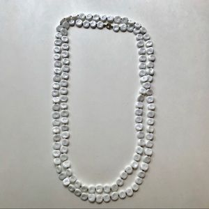 Extra Long White Vintage Beaded Necklae